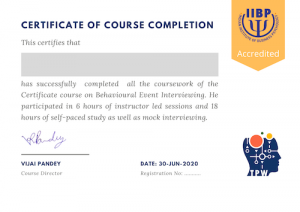 Certificate of Course Completion on Behavioural Event Interviewing